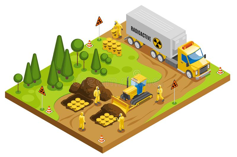 Toxic Waste Disposal Isometric Composition stock illustration