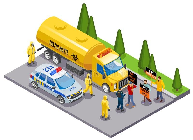 Toxic Waste Isometric Composition. Toxic waste disposal danger awareness isometric composition with environmental activists stopping truck transporting hazardous royalty free illustration