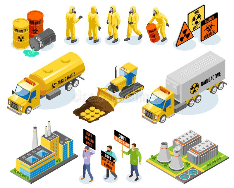 Toxic Waste Isometric Icons royalty free illustration