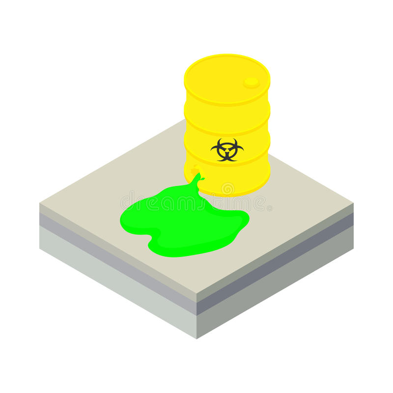Toxic waste spilling from barrel icon vector illustration