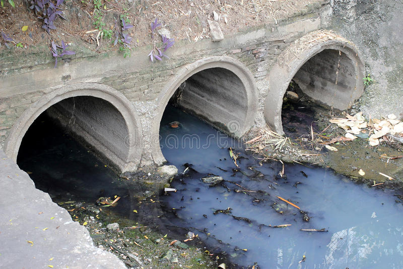 Toxic water running from sewers in dirty underground sewer for dredging drain tunnel cleaning. stock photo