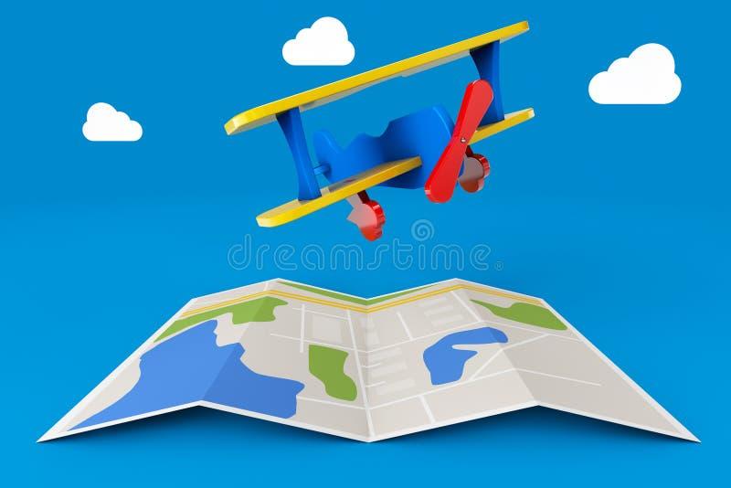 Toy Airplane über Stadtplan Wiedergabe 3d lizenzfreie abbildung