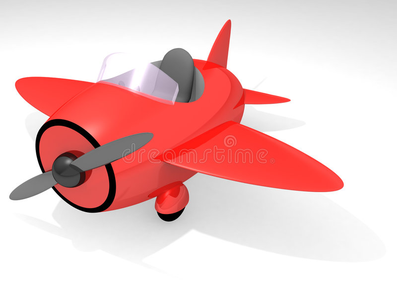 Toy airplane. Side view of red toy airplane isolated on white background; 3D render (global illumination, final gather stock photo