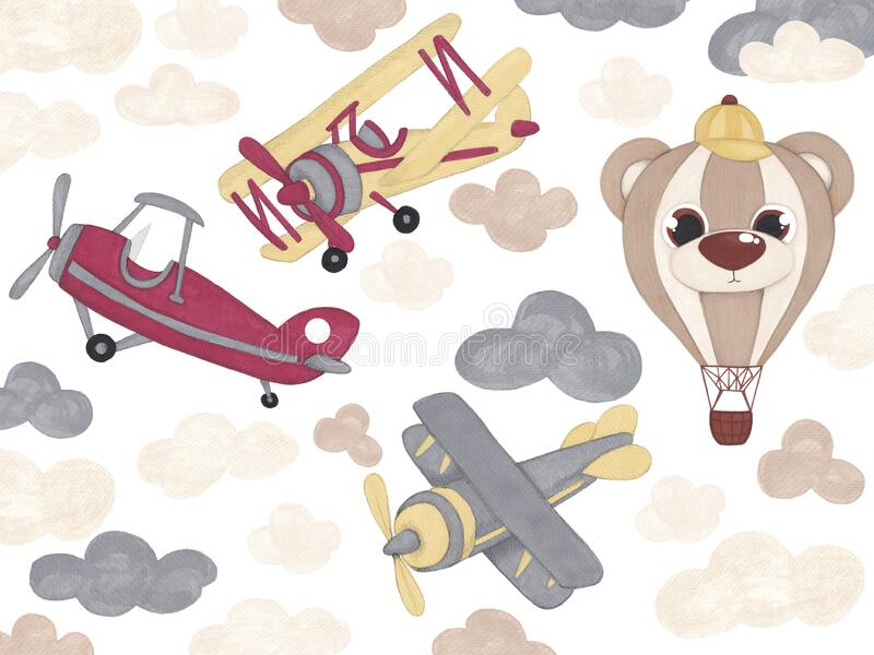 Toy Airplane Clipart, Airplane Clip Art, Vintage Airplanes, Clouds, Biplane Clipart isolated on white background. Child illustrati. On for baby shower stock illustration