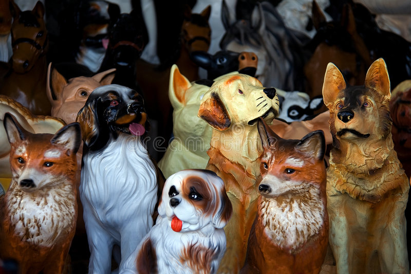 Toy Animal Statuettes Royalty Free Stock Photo