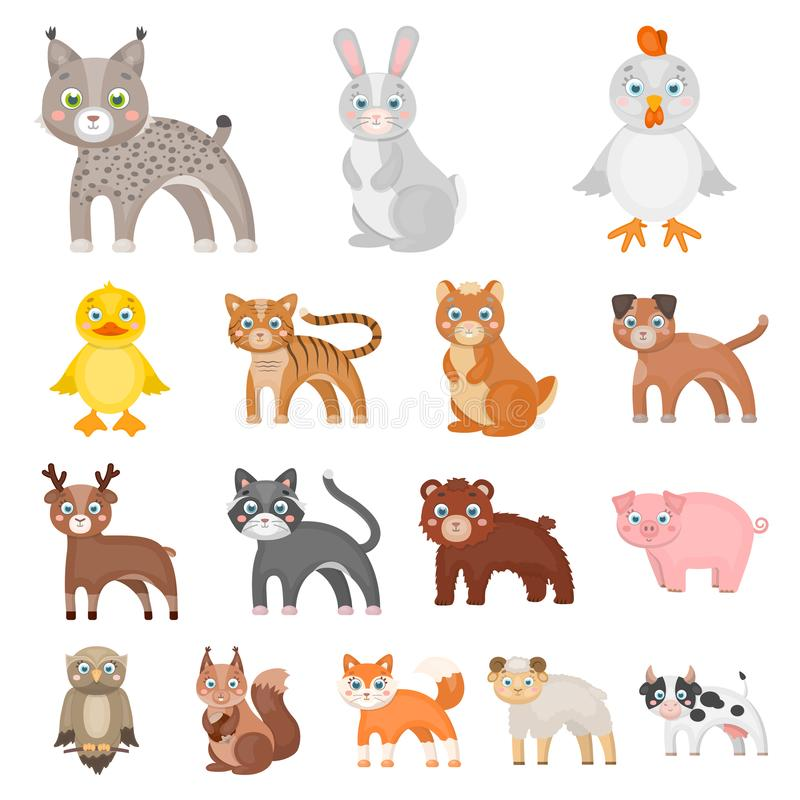 Toy animals cartoon icons in set collection for design. Bird, predator and herbivore vector symbol stock web. Toy animals cartoon icons in set collection for vector illustration
