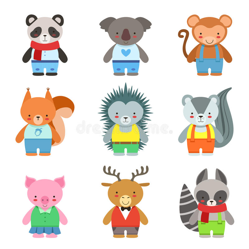 Toy Animals Dressed Like Kids Characters Set. Cute Cartoon Childish Style Illustrations Isolated On White Background stock illustration