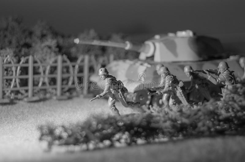 Toy Army Attacking stock foto