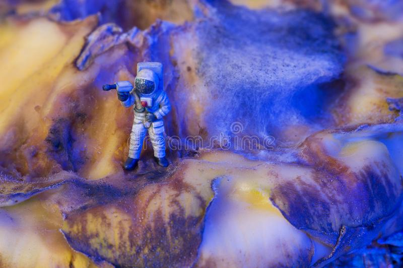 Toy astronaut on an alien planet stock images