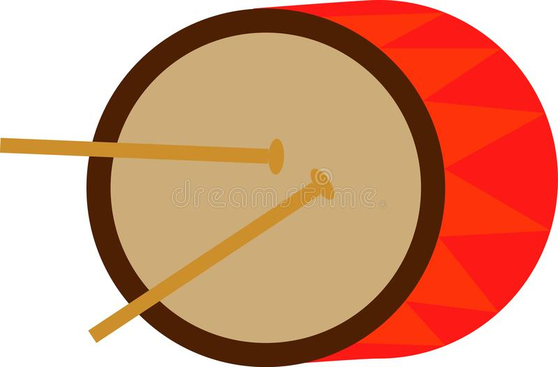 Toy baby drum with chopsticks vector illustration