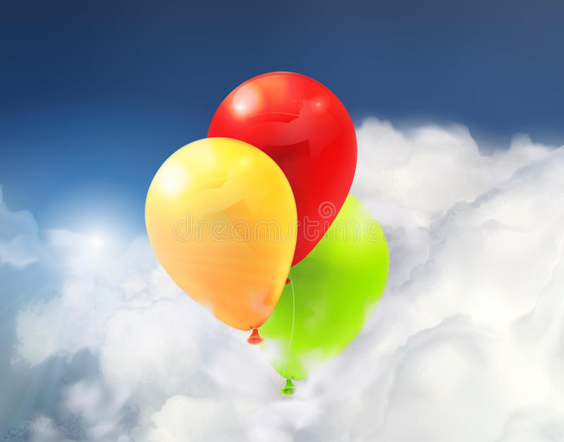 Toy balloons in the clouds. Colorful toy balloons in the clouds, vector illustration stock illustration