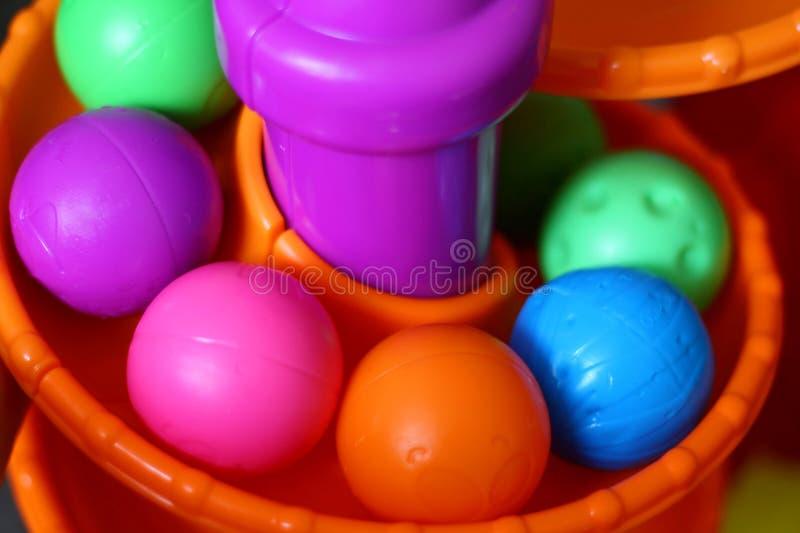 Toy Balls på spiralt spår royaltyfri fotografi