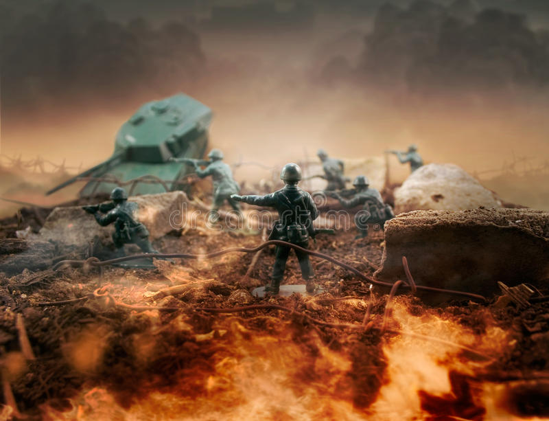 Toy battlefield. Fire scene plastic toy war command royalty free stock image