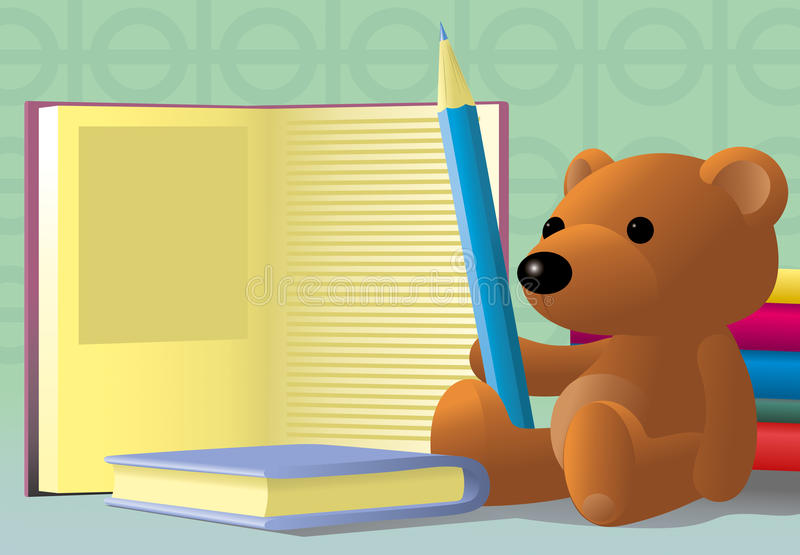 Download Toy bear with pencil stock vector. Image of write, zoon - 16812197