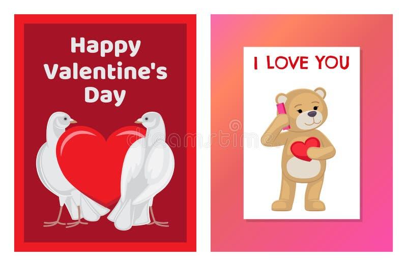 Toy Bears molle sveglio e colombe bianche nell'insieme di amore royalty illustrazione gratis