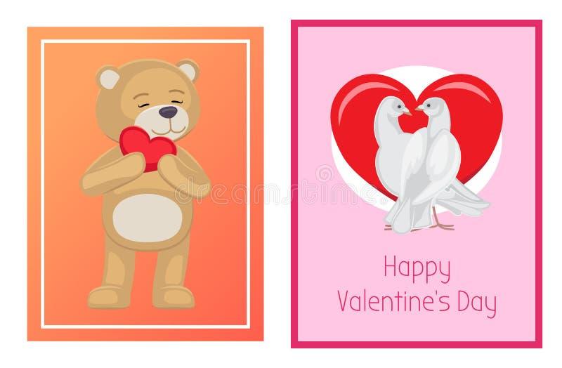 Toy Bears molle sveglio e colombe bianche nell'insieme di amore illustrazione vettoriale