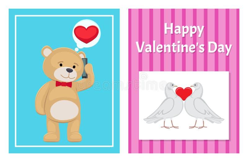 Toy Bears molle sveglio e colombe bianche nell'insieme di amore illustrazione di stock