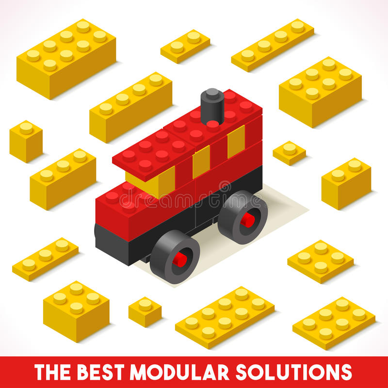 Toy Block Bus Games Isometric ilustração do vetor