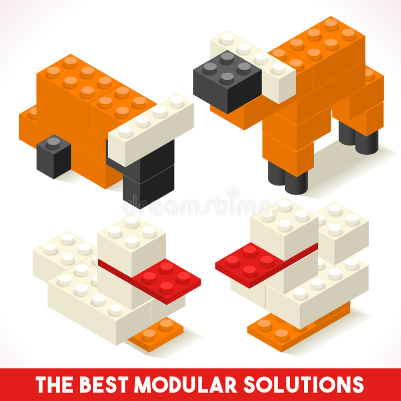 Toy Block Farm 01 isometriska lekar royaltyfri illustrationer