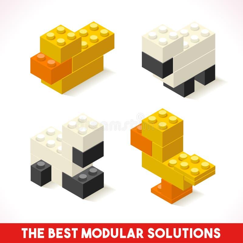 Toy Block Farm 03 isometriska lekar vektor illustrationer