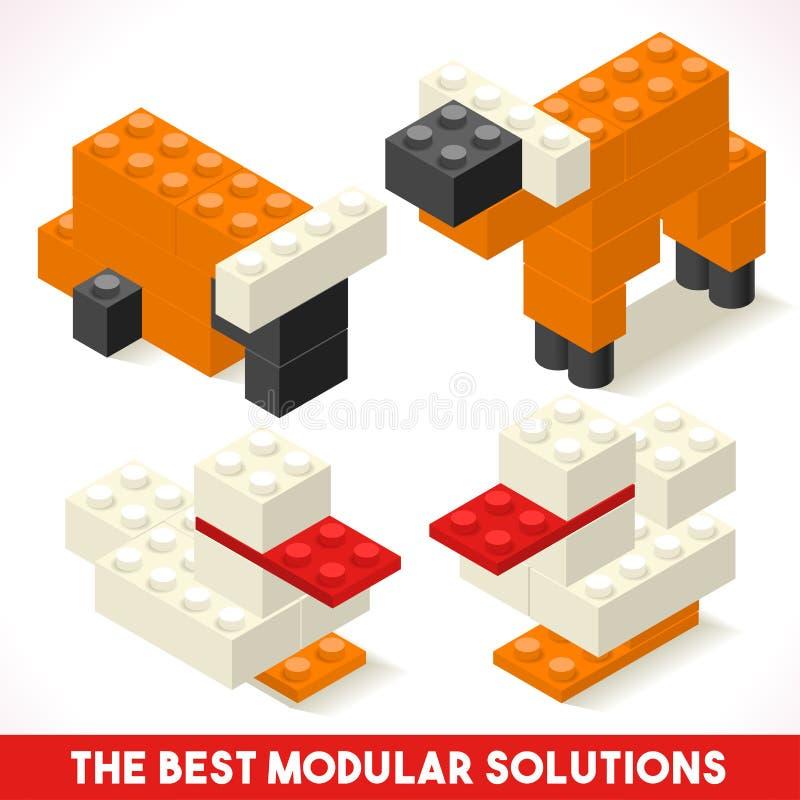Toy Block Farm 01 jogos isométricos ilustração royalty free