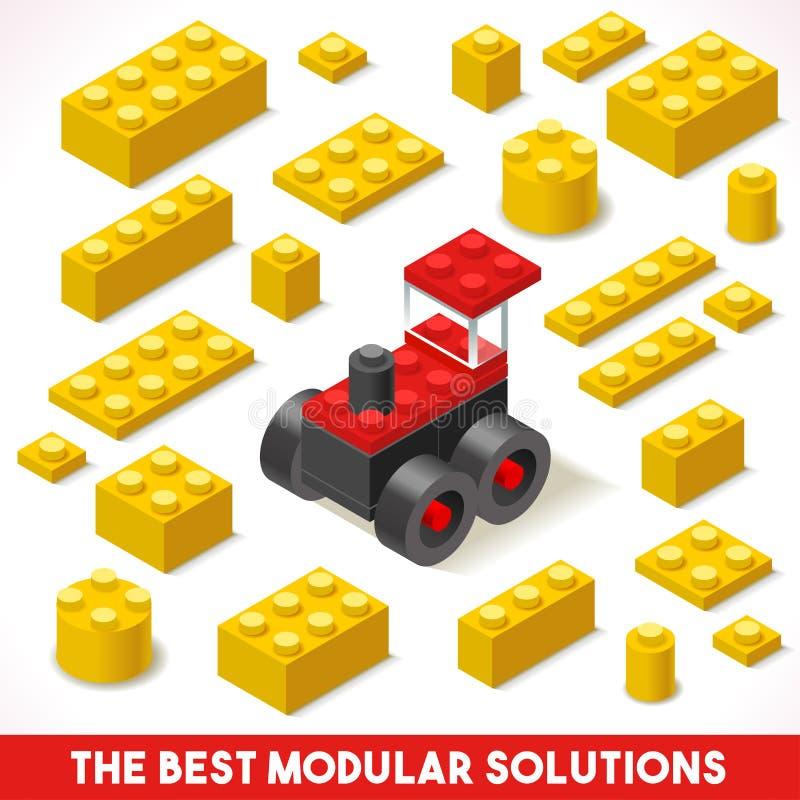 Toy Block Farm 02 juegos isométricos stock de ilustración