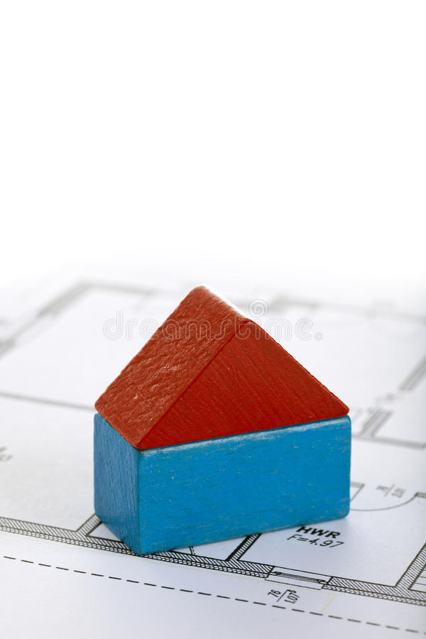 Download Toy Block House On Blueprint Of Floor Plan Stock Photo - Image: 13229510