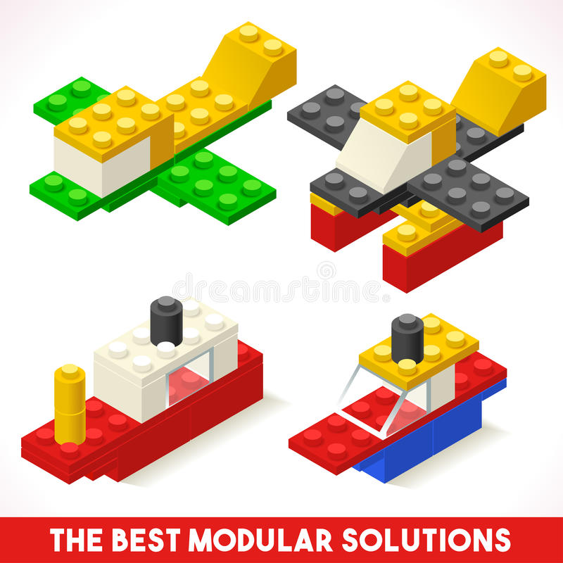 Toy Block Ship Plane Games isometrico illustrazione di stock