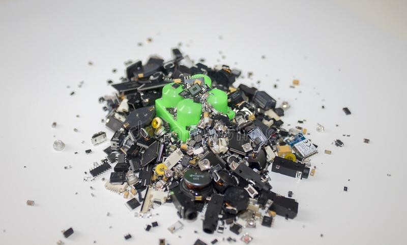 A toy block stuck in SMT components. royalty free stock photo