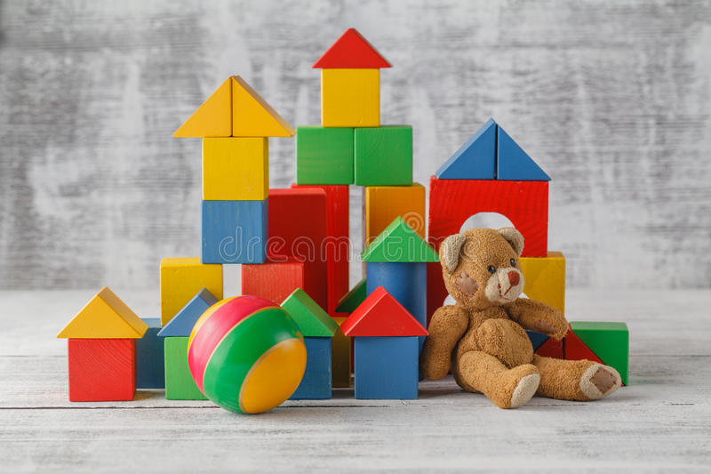 Toy Blocks City, Baby House Building Bricks, Kids Wooden Cubic o. Ver White Background stock photography