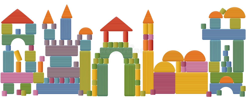 Toy Blocks City Skyline stock abbildung