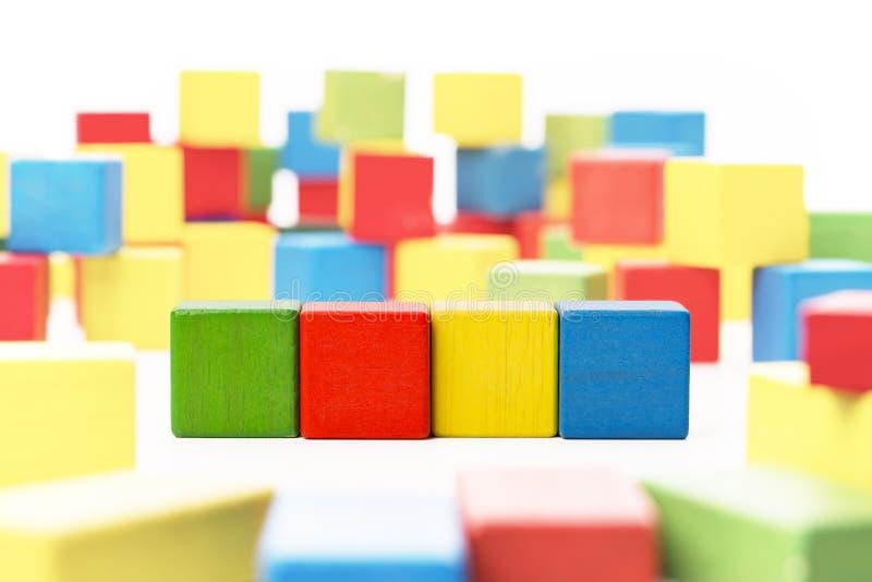 Toy Blocks Cube, Vier Houten Jonge geitjesdozen, Veelkleurige Cubics stock foto's