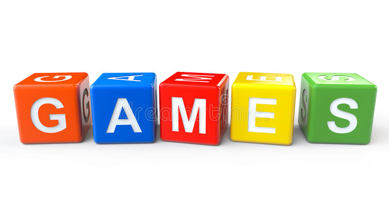 Toy Blocks with Games Sign vector illustration