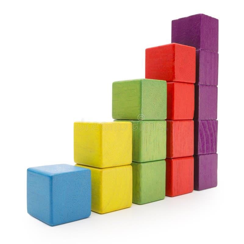 Toy Blocks Infographic Chart Stair-Bar, Veelkleurige Jonge geitjesbakstenen royalty-vrije stock fotografie