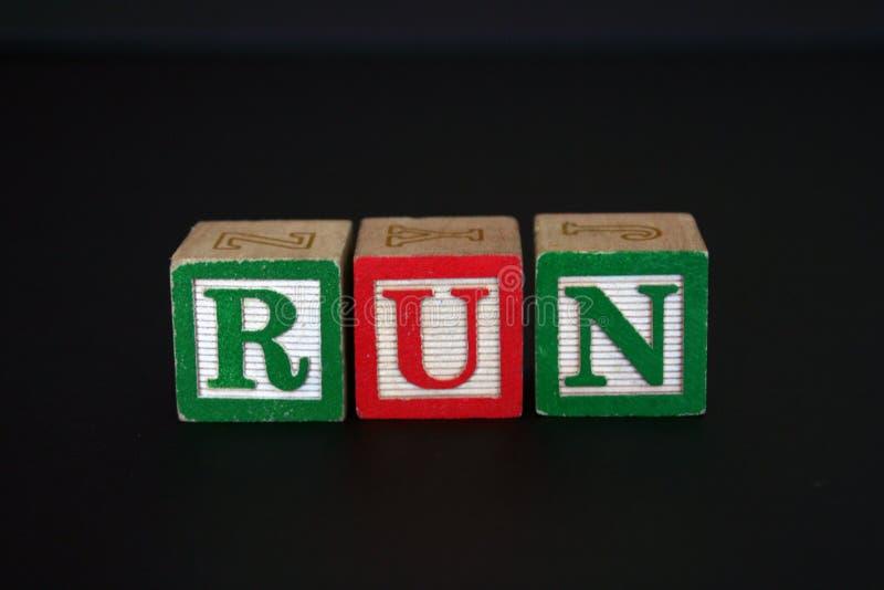 Toy Blocks That Spell RUN Stock Image