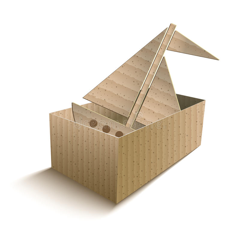 Toy boat in an open cardboard box stock image