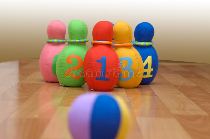 Toy bowling. Photo of toy bowling set ready to start the game royalty free stock photo