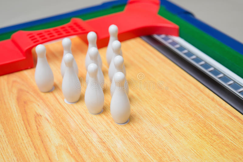 Toy bowling set. For kid stock images
