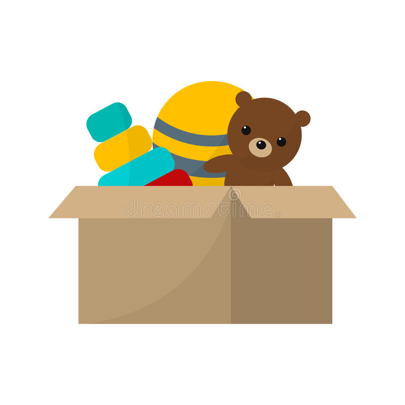 Toy box with teddy bear vector illustration cartoon. Cardboard container child color cute game object. Plastic animal clown doll play royalty free illustration