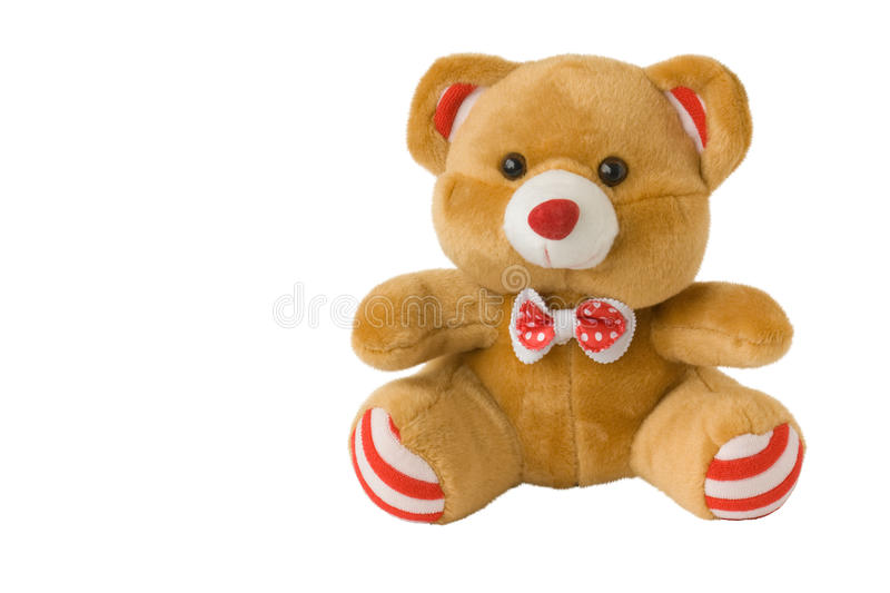 Toy brown bear. Soft toy brown bear , isolated on a white background royalty free stock photos