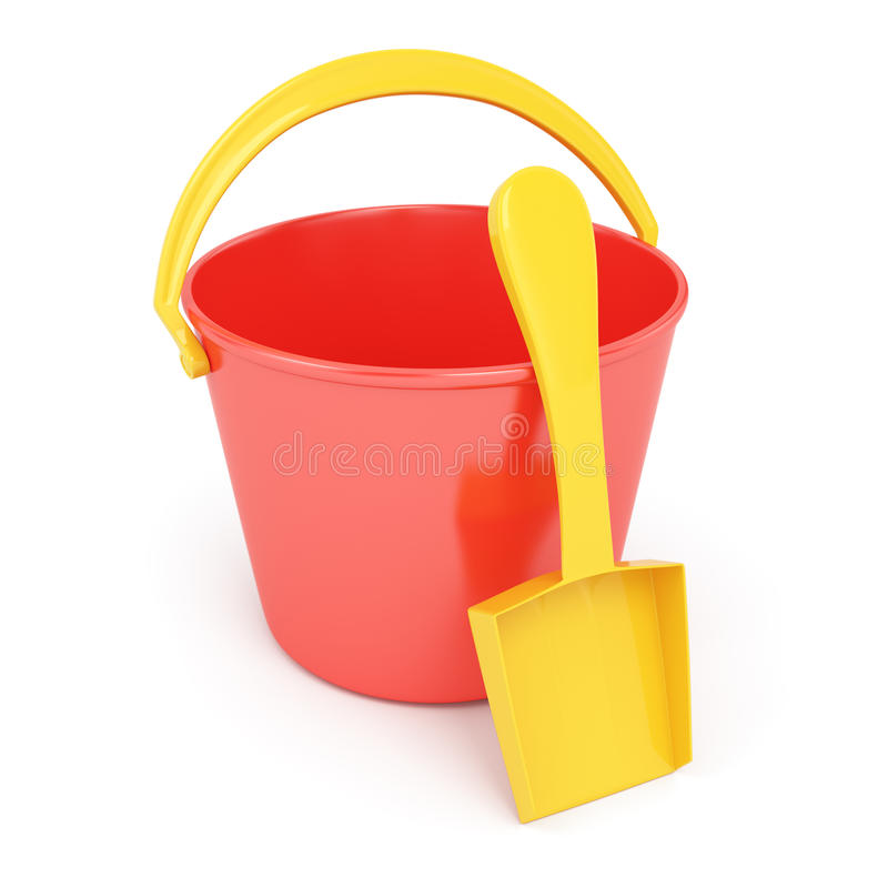 Toy bucket and scoop. On white background. 3d render royalty free illustration