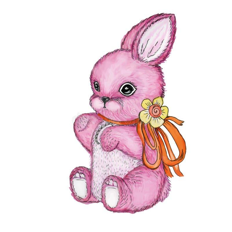 Toy Bunny avec l'aquarelle d'arc illustration libre de droits
