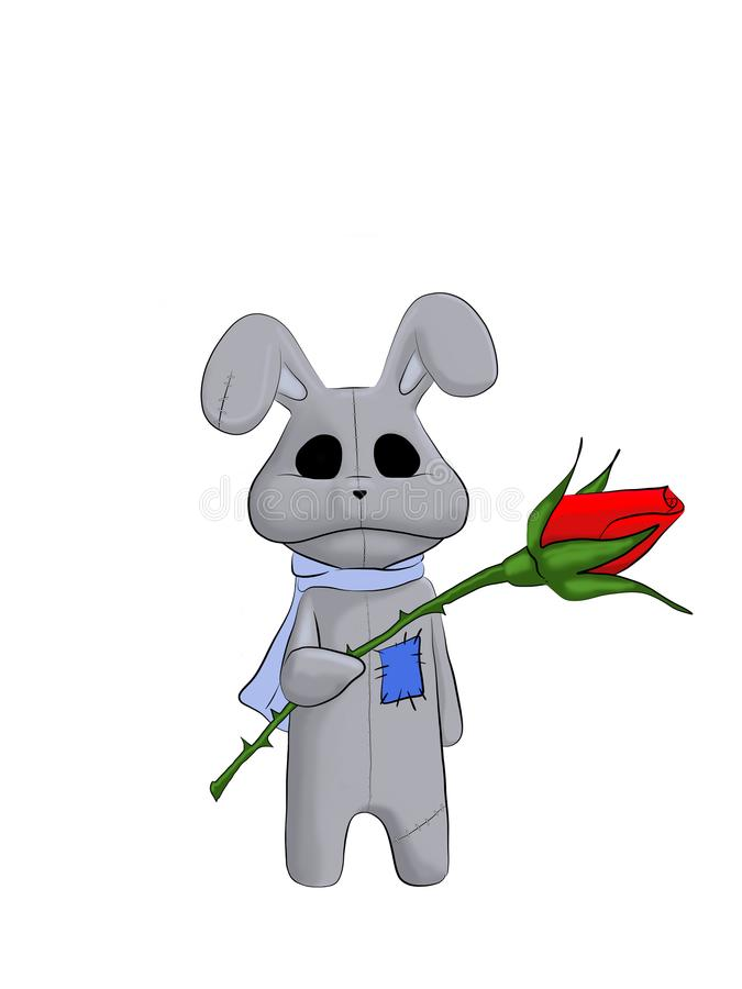 Toy Bunny con Rose Isolated roja en el fondo blanco libre illustration