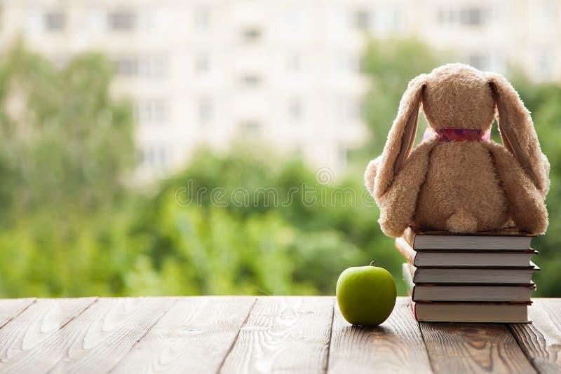 Toy Bunny que sentam-se para trás, mentira ao lado de uma pilha de livros e Apple verde Conceito em antecipação ao ano escolar no fotos de stock