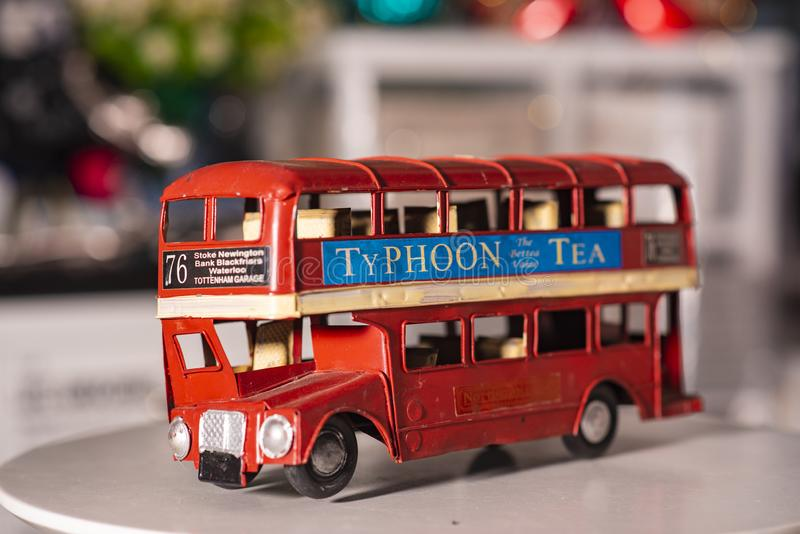 Toy bus used for home decoration stock image