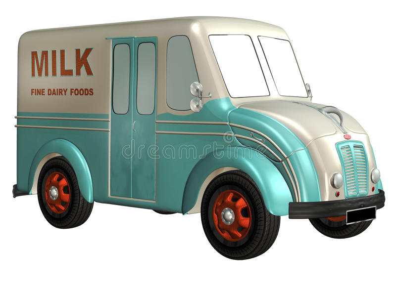 Toy car 4. 3D render of a blue and white delivery toy car royalty free illustration