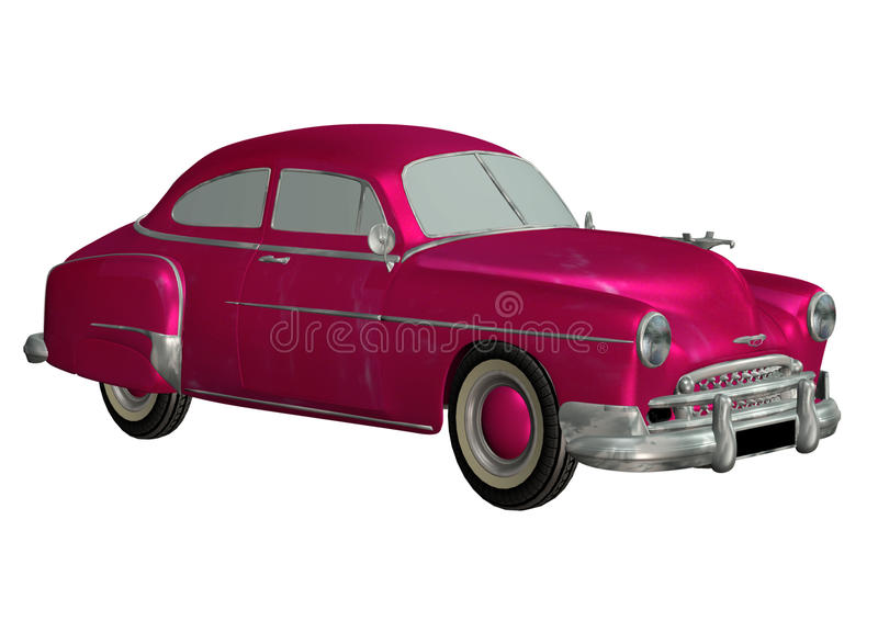 Toy car 7. 3D render of a pink toy car stock illustration