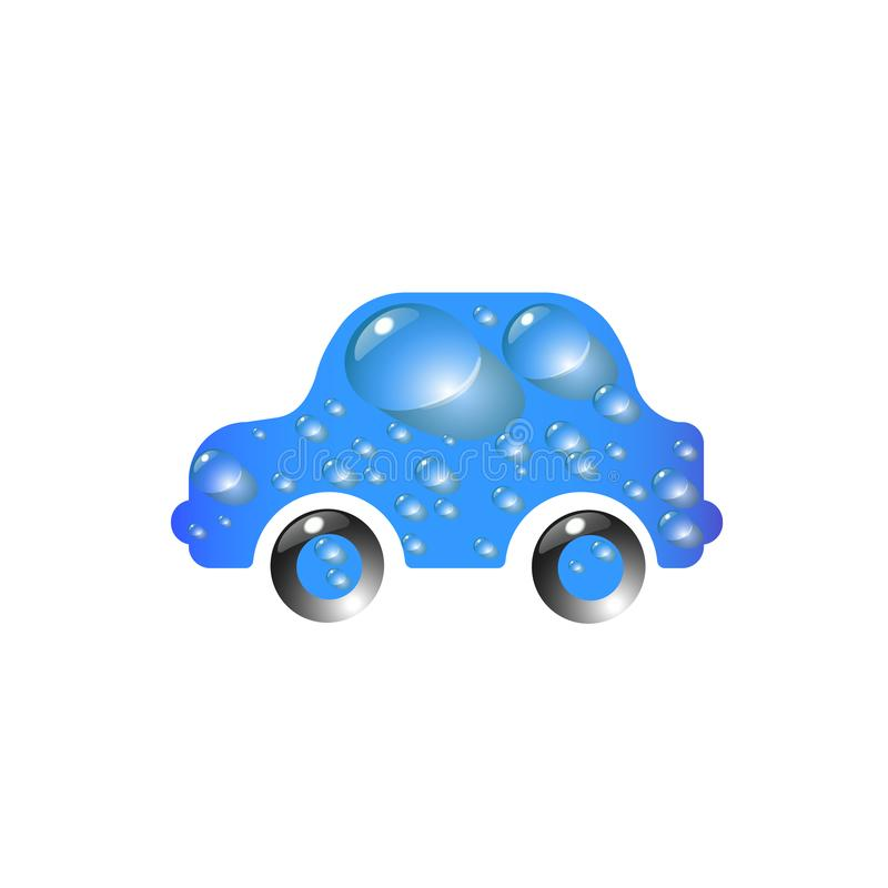 Toy car blue color in drops of water. The most top-End Car wash design vector abstract modern illustration.  stock illustration