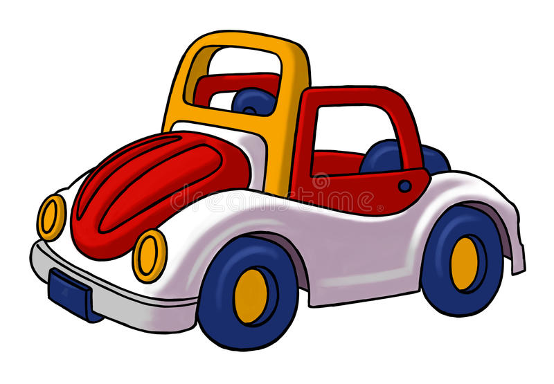 Toy car. A colorful, red, blue and yellow toy car stock illustration
