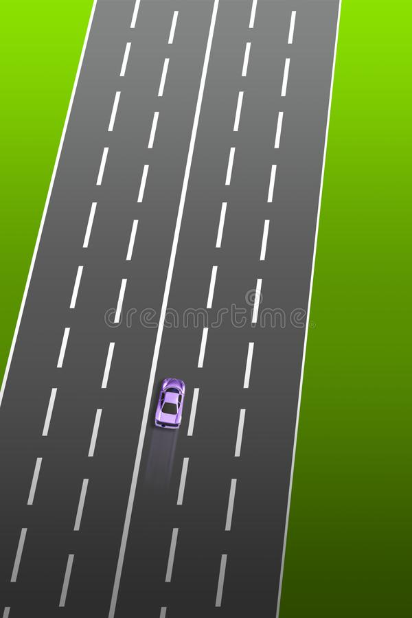 Toy car on the highway vector illustration